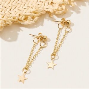Gold Star Chain Dangle Earrings